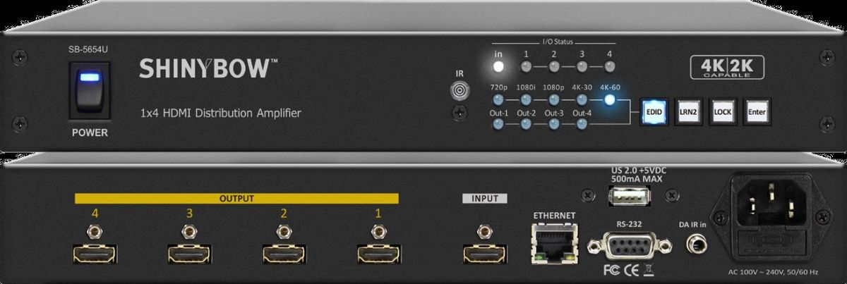 1x4 4K2K ULTRA HDMI Distribution Amplifier