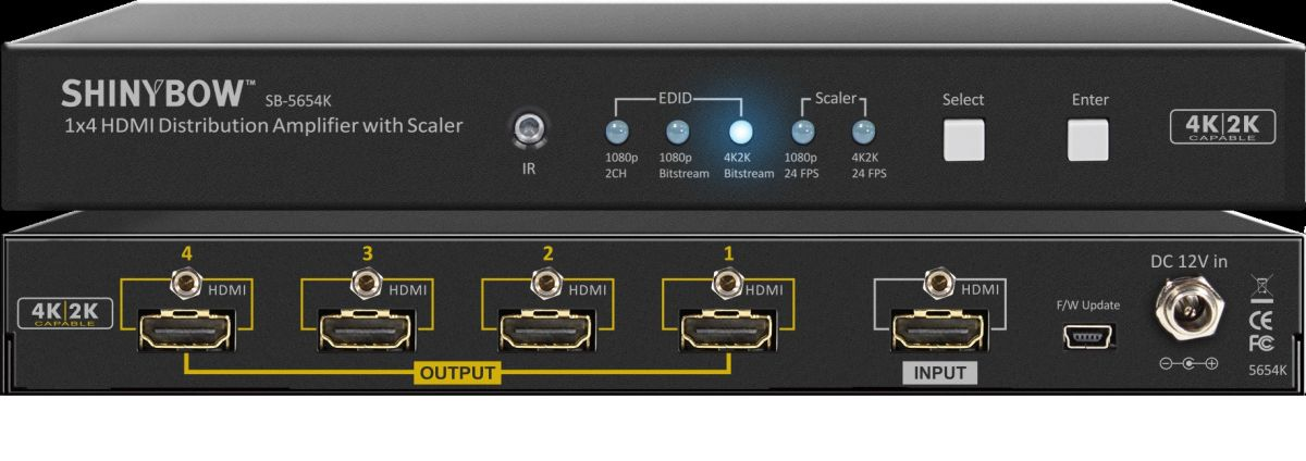 1x4 HDMI Distribution Amplifier with Scaler
