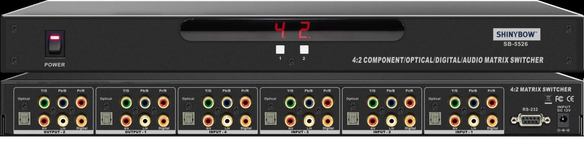 4x2 Component•Digital•Optical•Audio Matrix Switcher