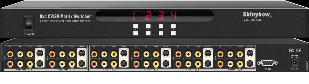 8x4 S-Video•Composite Video•Audio Matrix Switcher