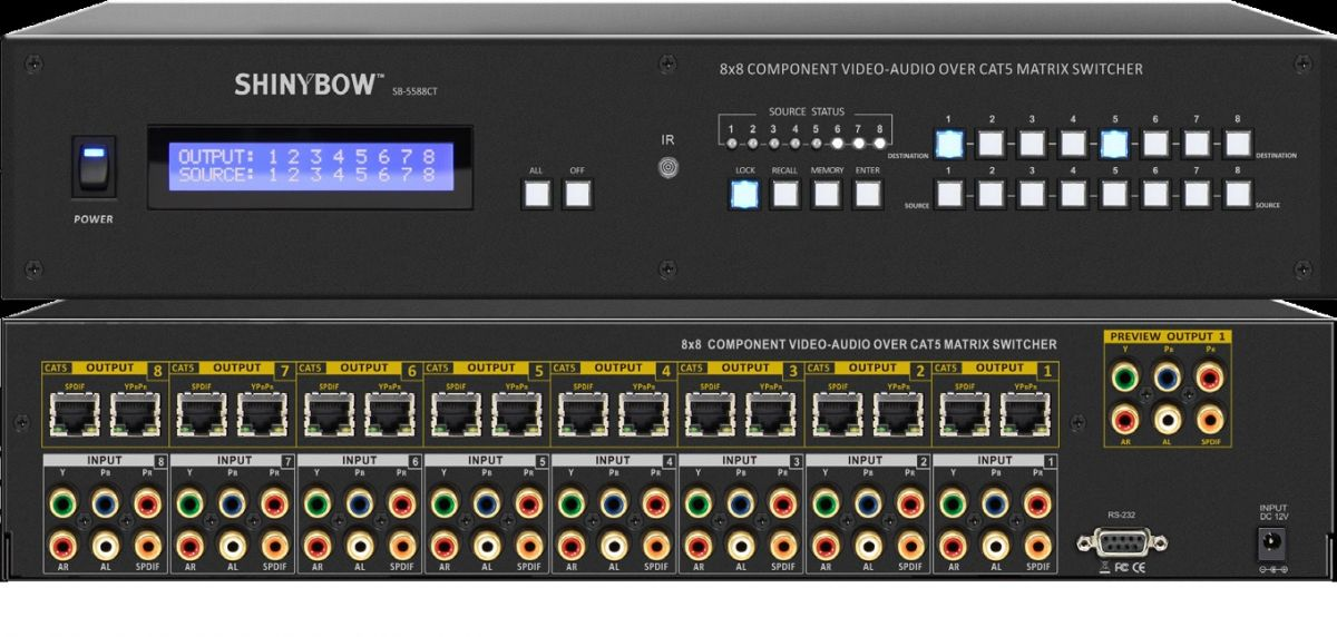 8x8 Component•Digital•Audio CAT5 Matrix Switcher