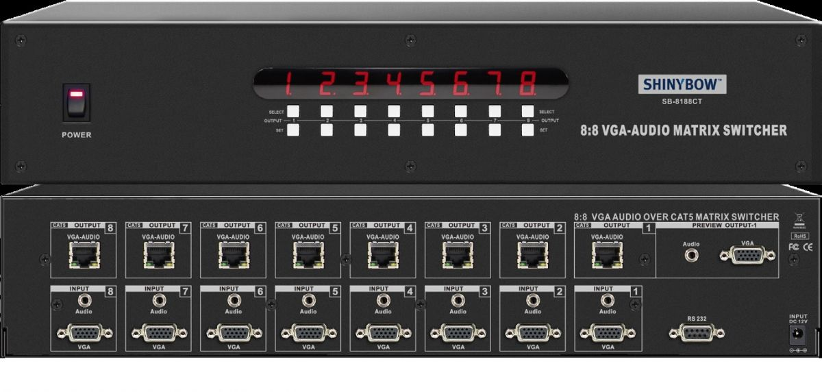 8x8 VGA-Audio Over CAT5 Matrix Switcher